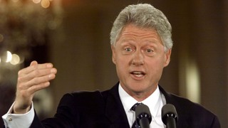CLINTON SPEAKS AT NEWS CONFERENCE IN WASHINGTON.