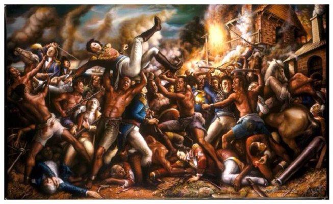 """""""Slave Uprising"""" (Levantamiento de esclavos) pintura de Ulrick Jean-Pierre"""